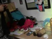 Sexy college girls playing dress up in dorm room