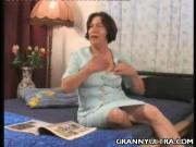 Short-Haired Grandma Fondles Her Tits