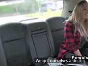 Female cab driver licks huge tits blonde