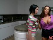 Stepmom and teen crazy threesome session in the kitchen