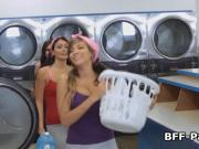 Teens fucking creep at laundromat while they wait