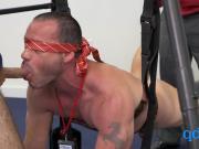 TAG TEAMING bottom muscled hunk on BONDAGE SWING hardcore