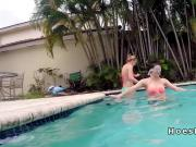 Two perky boobs babes banged by the pool
