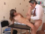 Sultry bookworm was tempted and pounded by her older schoolteacher