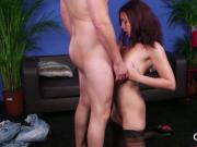 Kinky looker gets cum load on her face eating all the load