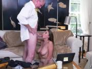 Daddy grunts Ivy impresses with her enormous fun bags and ass