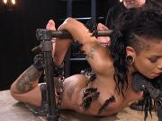 Zippered ebony in bondage pussy vibed