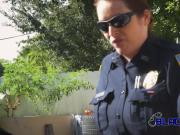 Busty milf cops subdue criminal into banging in alley on broad daylight