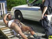 Big tits cops outdoor fucking threesome interracial