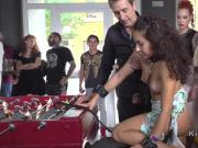 Petite slave banged in public bar