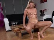 Fantastic nympho is peeing and fingering shaven twat