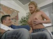 Nice-Boobed Blonde Young Chick Is Extremely Banged By This Long Shaft On That Couch