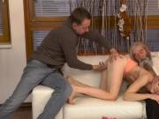 Blonde glasses threesome Vanessa, her boyboss and his father wished