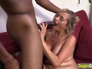 Busty mature blonde is a pro cock wrangler who likes it black
