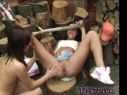 Half naked muscular latino teen girl Cutting wood and slurping pussy