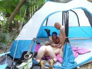 Sexy campers enjoy a hot group fuck in the forest