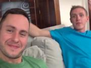 Hot gay threesome fucks mouth to ass with uncut dicks