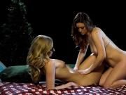 Two playful ladies get naked and enjoyed body massage