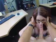 Slender babe drilled by nasty pawn guy in the backroom