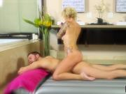 Big titted blonde masseuse Daisy Monroe giving a full body massage and blowjob