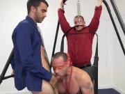 Horny guy gets pounded on sex swing in office
