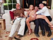 Blonde babe Raylin Ann group fucking with grandpas