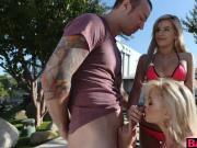 Bella Rose teach Katy Jayne how to suck a cock