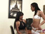 Black lesbians Jenna and Kira engage in some steamy action on the desk