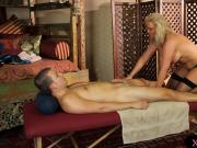 Busty blonde milf banged by her client on massage table