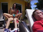 Latina cutie Holly Hendrix hot anal poolside fuck