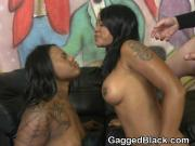 Face Pounding Two Black Ghetto Sluts In Filthy Foursome