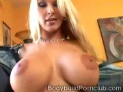 Stunning big boobed blondie moans alone for a big cock