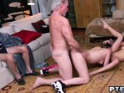 Teens fucking old guy threesome licking pussy doggy style