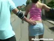 Tight-Bodied Chick Pounds Rod In Public
