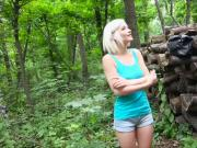 Blonde teen Zazie Skymm in a heated outdoor sex for cash