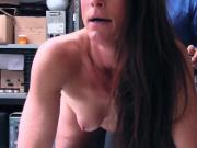 Sofie gets on her knees to suck and take horny officers big cock