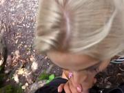 Beautiful blonde eurobabe gets twat pounded in the park
