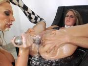 Sexy lesbians fill up their massive fannys with cream and squirt it out