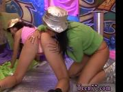 Petite brunette interracial Hairy Kim and shaven Janet