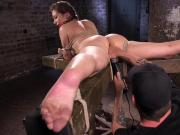 Gagged hogtied slave pussy fingered