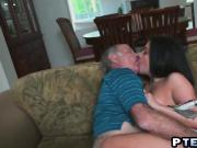 Young brunette making out and sucking old guy