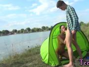 White teen fucks black bf Eveline getting pounded on camping site