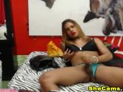 Blonde Shemale Cock Masturbation In Front Of Cam
