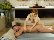 Big natural tits redhead masseuse gets her pussy screwed