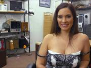 Busty latina milf gets banged in the pawnshop for big cash