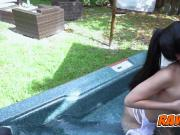 Jade gets seduced by the pool and fucked inside the house
