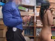 Amethyst is placed on desk to take horny officers big cock