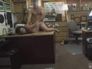 Brunette fucks two guys Customer's Wife Wants The D!