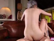 Hot babe Lady Luna takes a hard pussy pounding on the sofa