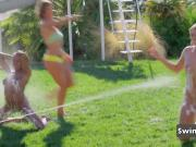 Swingers take over the backyard for hot ice breaking games